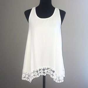 Monteau Cream Lace bottom back tank top Large